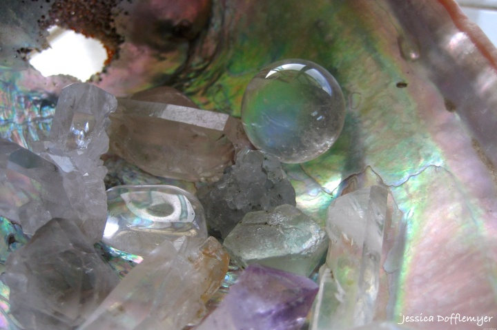 crystals and abalone